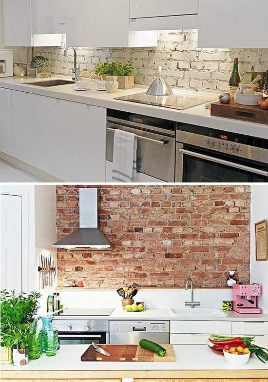 unbehandelte Ziegelwand küchenrückwan Mauern Pinterest Kitchens - unbehandelte ziegelwand