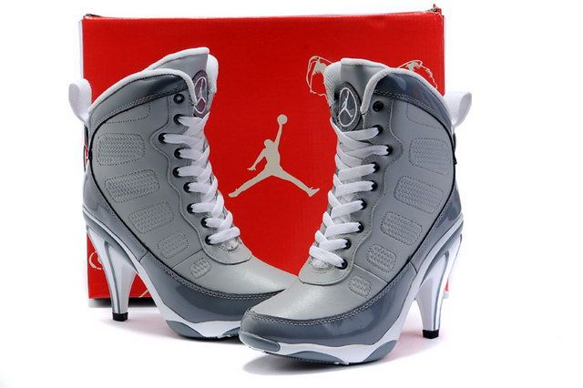 low priced 59ab2 b2eb3 NIKE AIR JORDAN WEDGES   Nike Air Jordan 9 High Heels Grey For Women on  Sale -  109.99