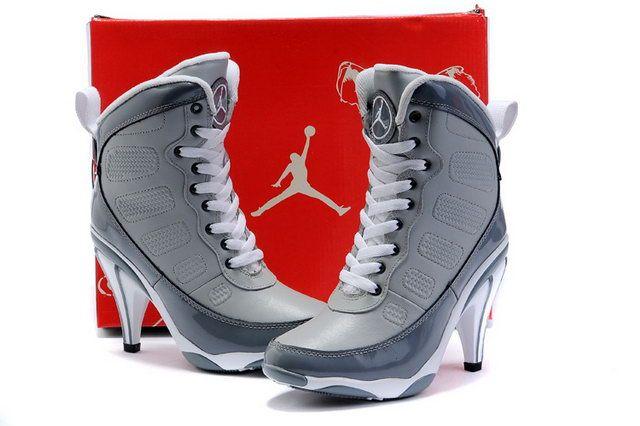 3ae9d228b57 NIKE AIR JORDAN WEDGES | Nike Air Jordan 9 High Heels Grey For Women ...