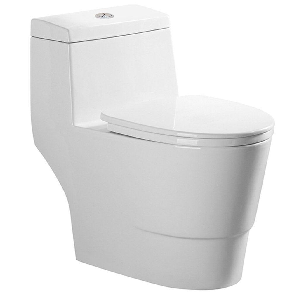 Woodbridge Dual Flush Elongated One Piece Toilet With Soft Closing Seat Comfort Height Water Sense High Efficiency Amazon Com Modern Toilet Wood Bridge Kohler Toilet