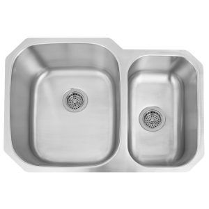 Barclay Gaspar Collection Stainless Steel Rectangular Offset Double Bowl  Undermount Sink With Drain And Insulation For Sound