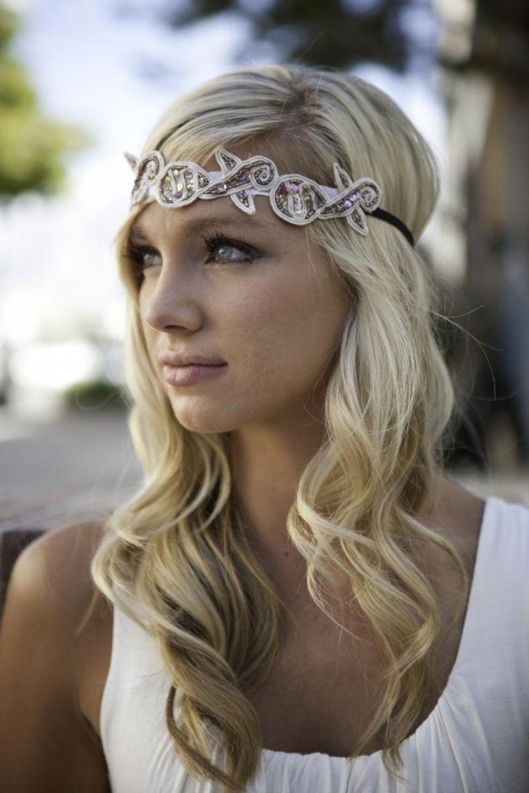 Frisuren Haarband Ideen Offene Haare Locken Haare Haarband