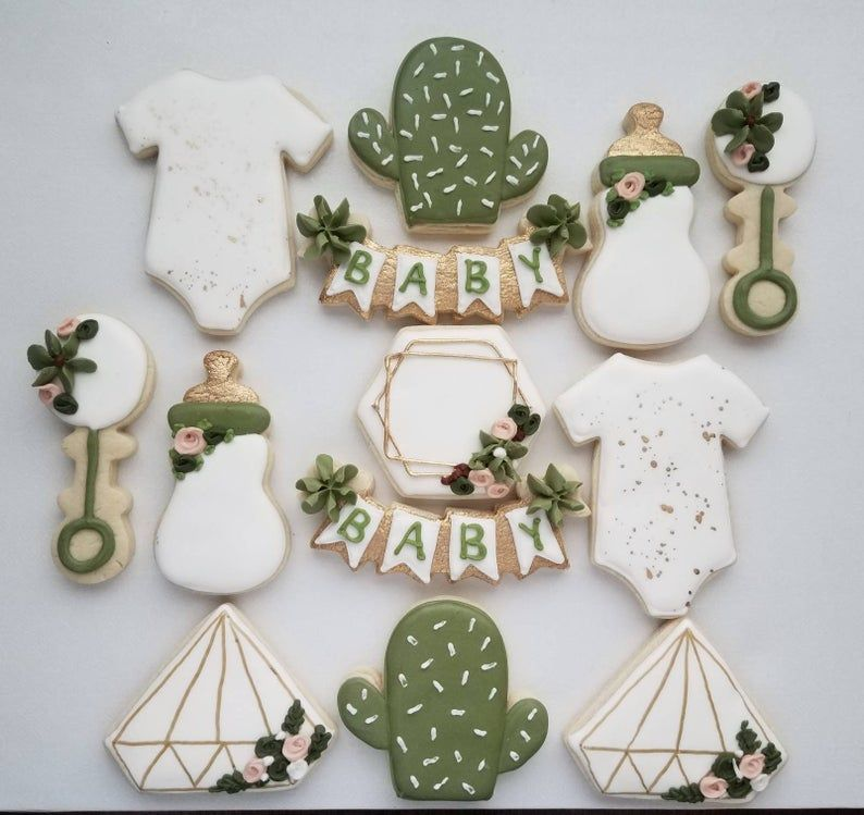 Succulent themed sugar cookies neutral baby shower
