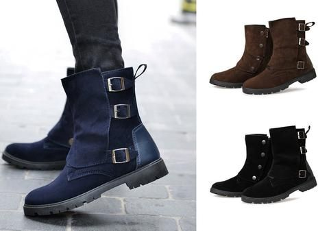 mens urban stylish casual hightop buckle boots  hipster