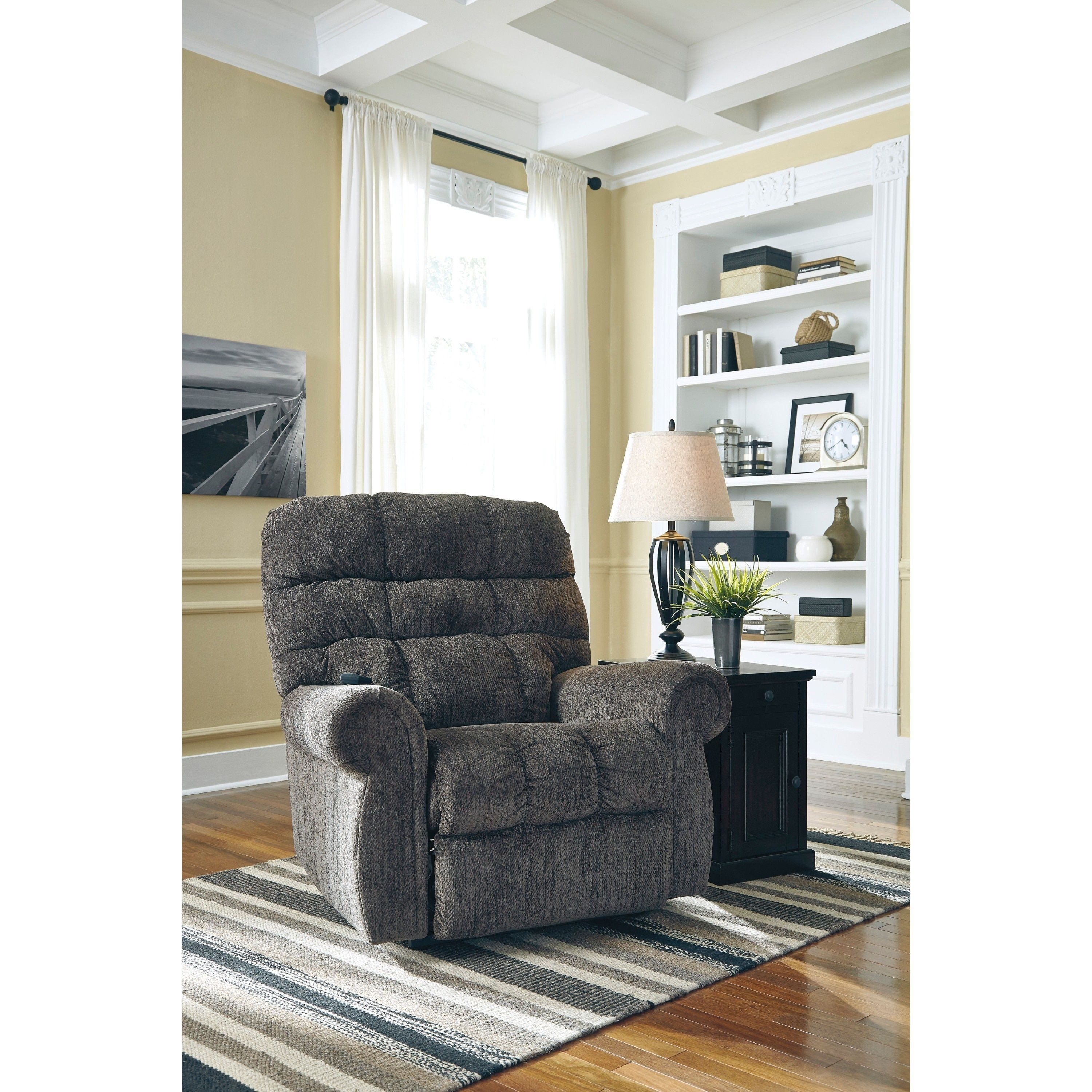 Signature Design By Ashley Ernestine Grey Power Lift Recliner (Power Lift  Recliner), Size