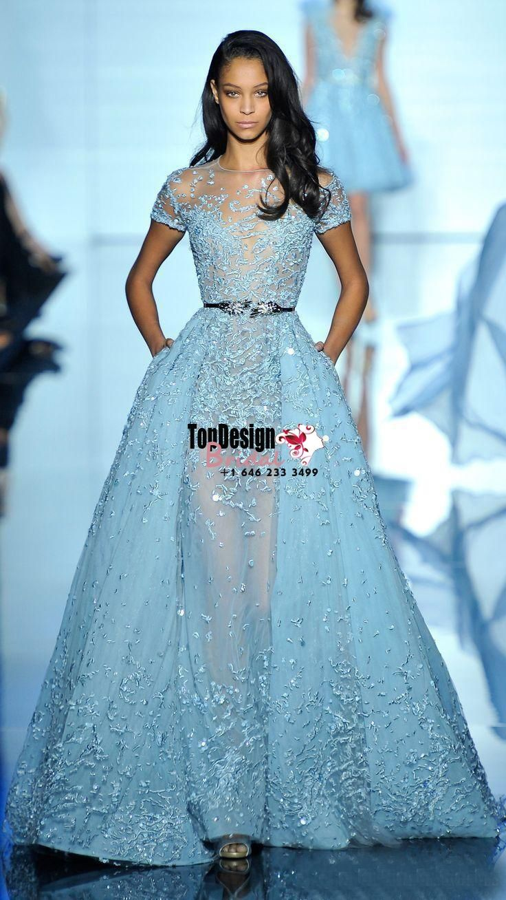 2017 Light Sky Blue Sexy Zuhair Murad Overskirts Evening Dresses Sheer Neck  Jewel Applique Beads Lace Poet Short Sleeves Celebrity Gowns 2c1351a6ef46