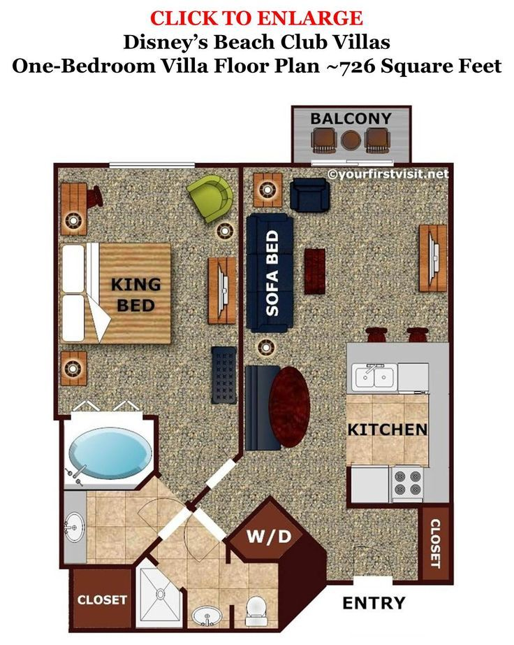 Room Layouts One Bedroom Villa Floor Plan Beach Club Villas From Yourfirstvisit Disney Hotels
