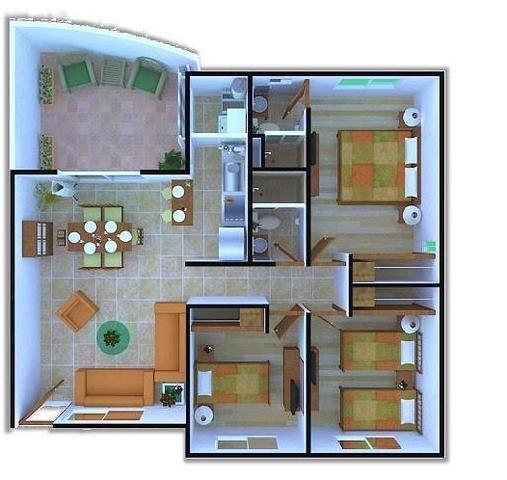 Mil ideas para la casa y el jardin casa un solo piso for Planos de casas de un piso