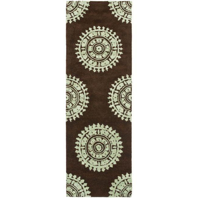 Safavieh Handmade Soho Chrono Brown/ Teal New Zealand Wool Runner (2'6 x 12') , Size 2'6 x 12' (Cotton, Geometric)
