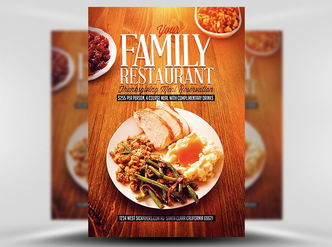 Thanksgiving Restaurant Flyer Template 1 Design Pinterest - restaurant flyer