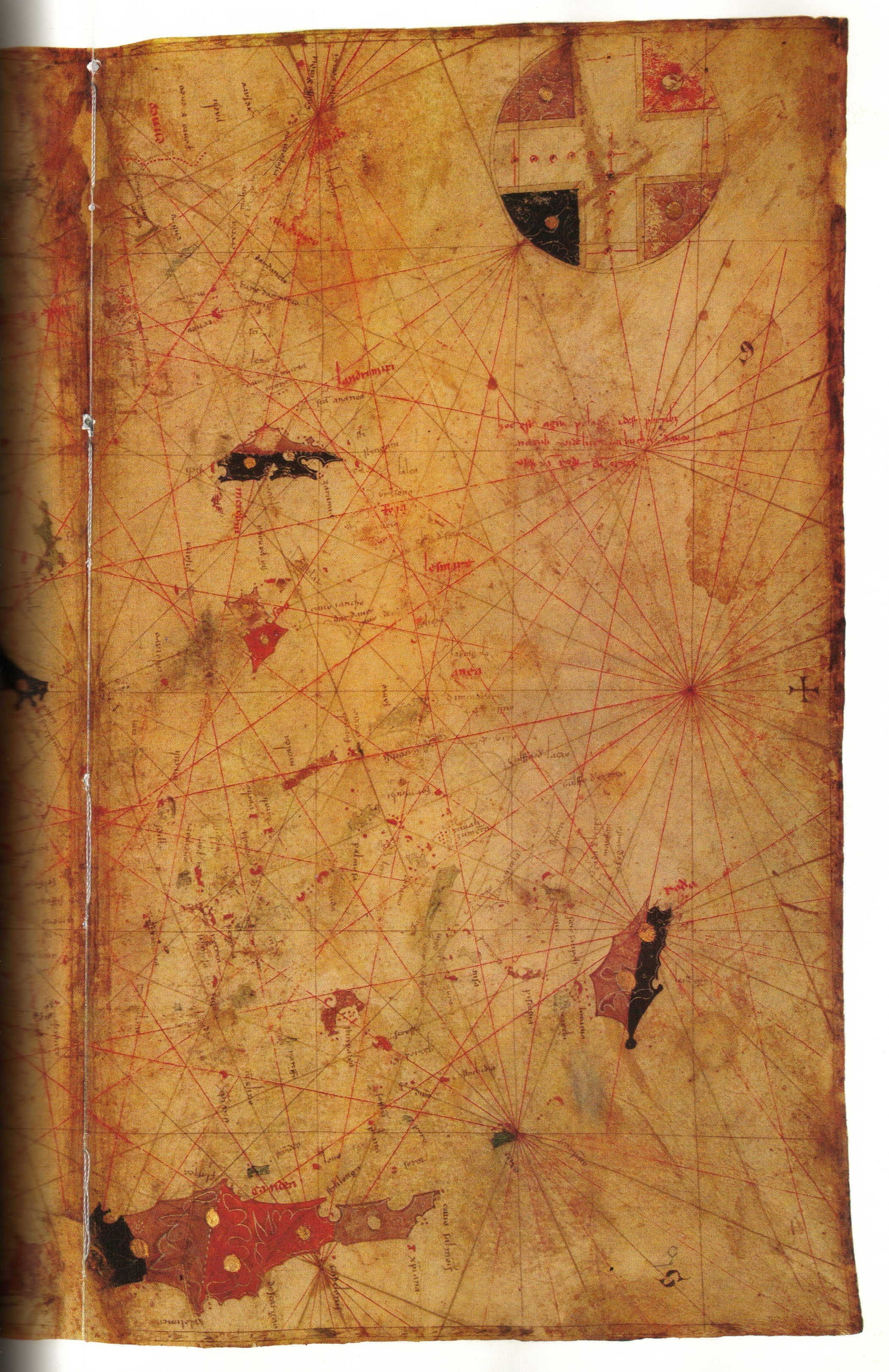 CARTA di PIETRO VESCONTE. Carta nautica del Mediterraneo, 1313, Parigi, B. N., rés. Ge DD 687. (Kish 1980, tav. 42)