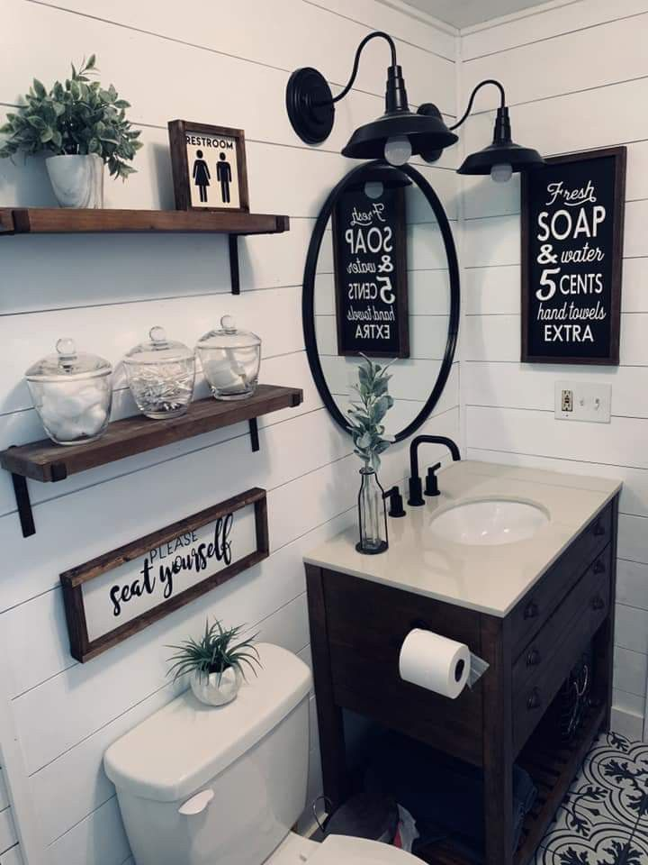 Pin By Kymberly Thurman On Master Bathroom In 2020 Bathroom Decor Small Bathroom Decor Farmhouse Bathroom Decor