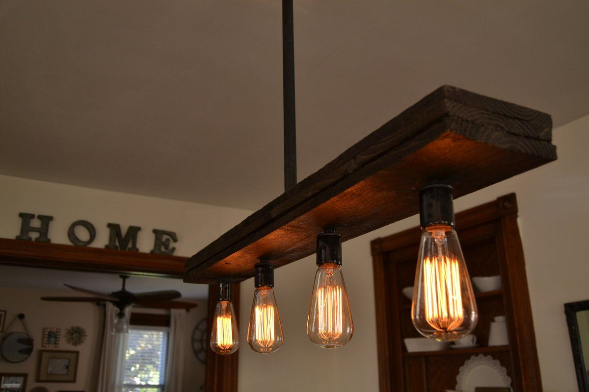 West Ninth Vintage Pendant Farmhouse Chandelier Fixture Fayette Wood Beam Light Rustic Lighting for Kitchen Island Lighting, Dining Room, Bar