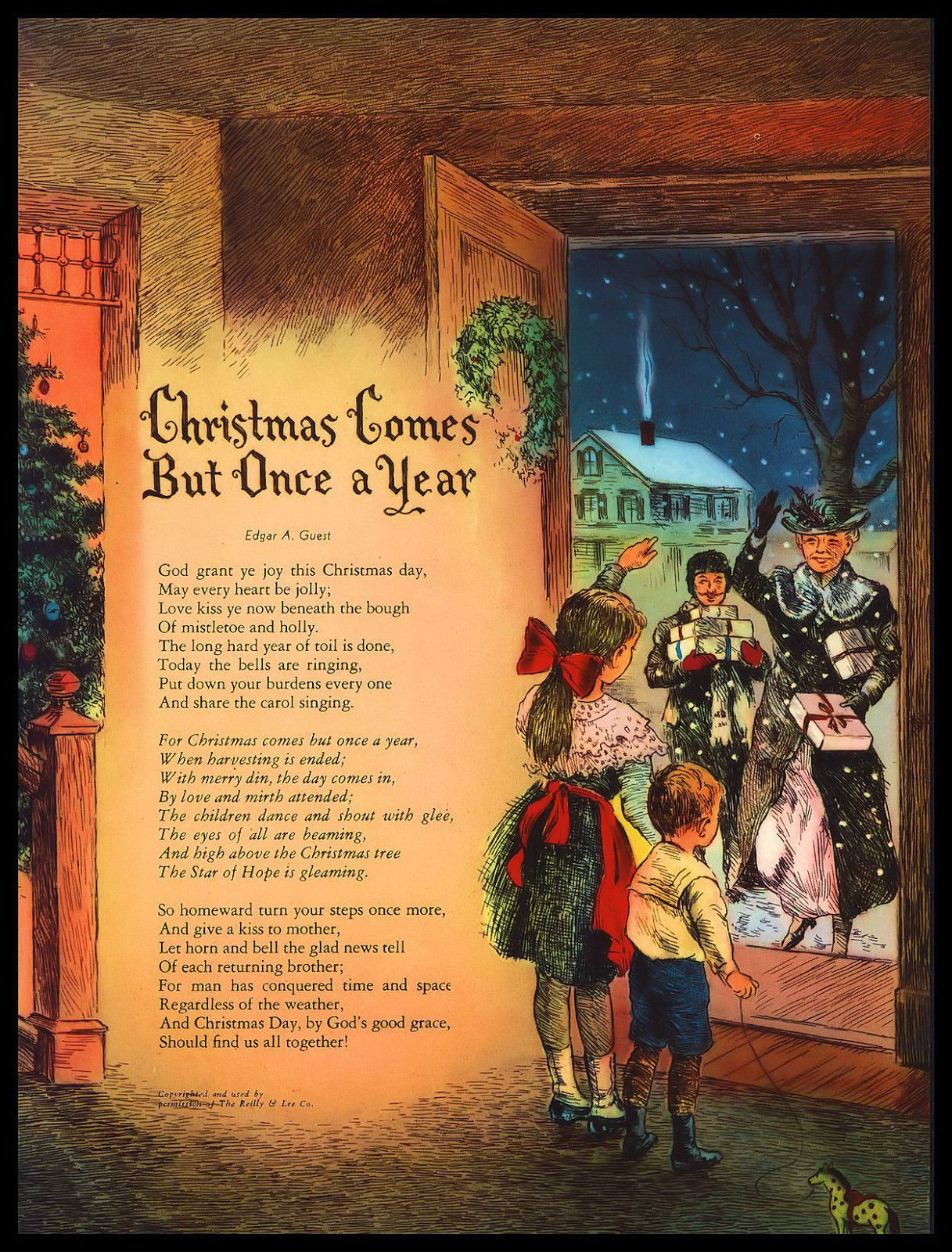 Christmas Comes But Once A Year.Vintage 1950 Christmas Comes But Once A Year Art Print