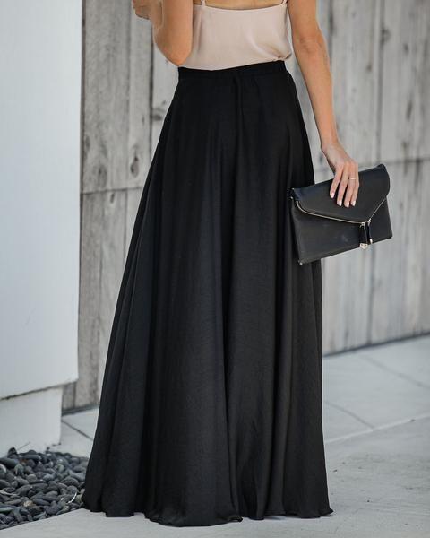 Duchess Satin Maxi Skirt - Black - FINAL SALE #duchesssatin