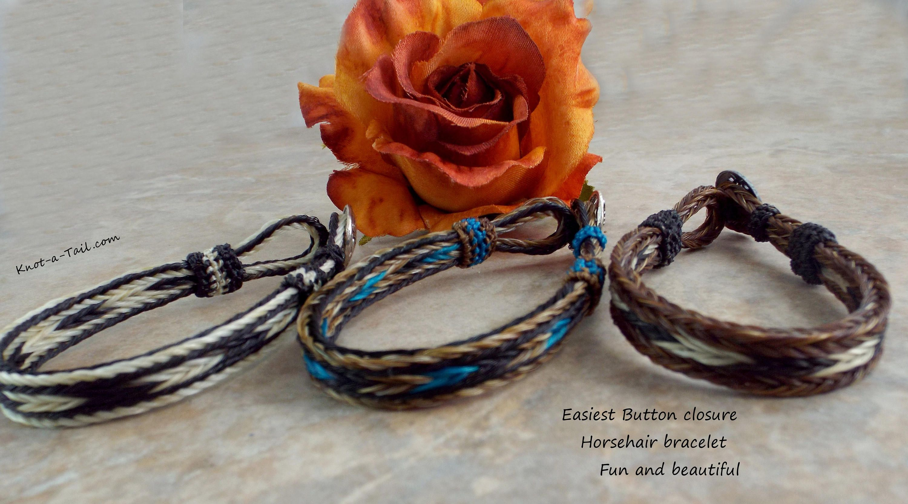 Horsehair bracelet easy loop closure handbraided horsehair