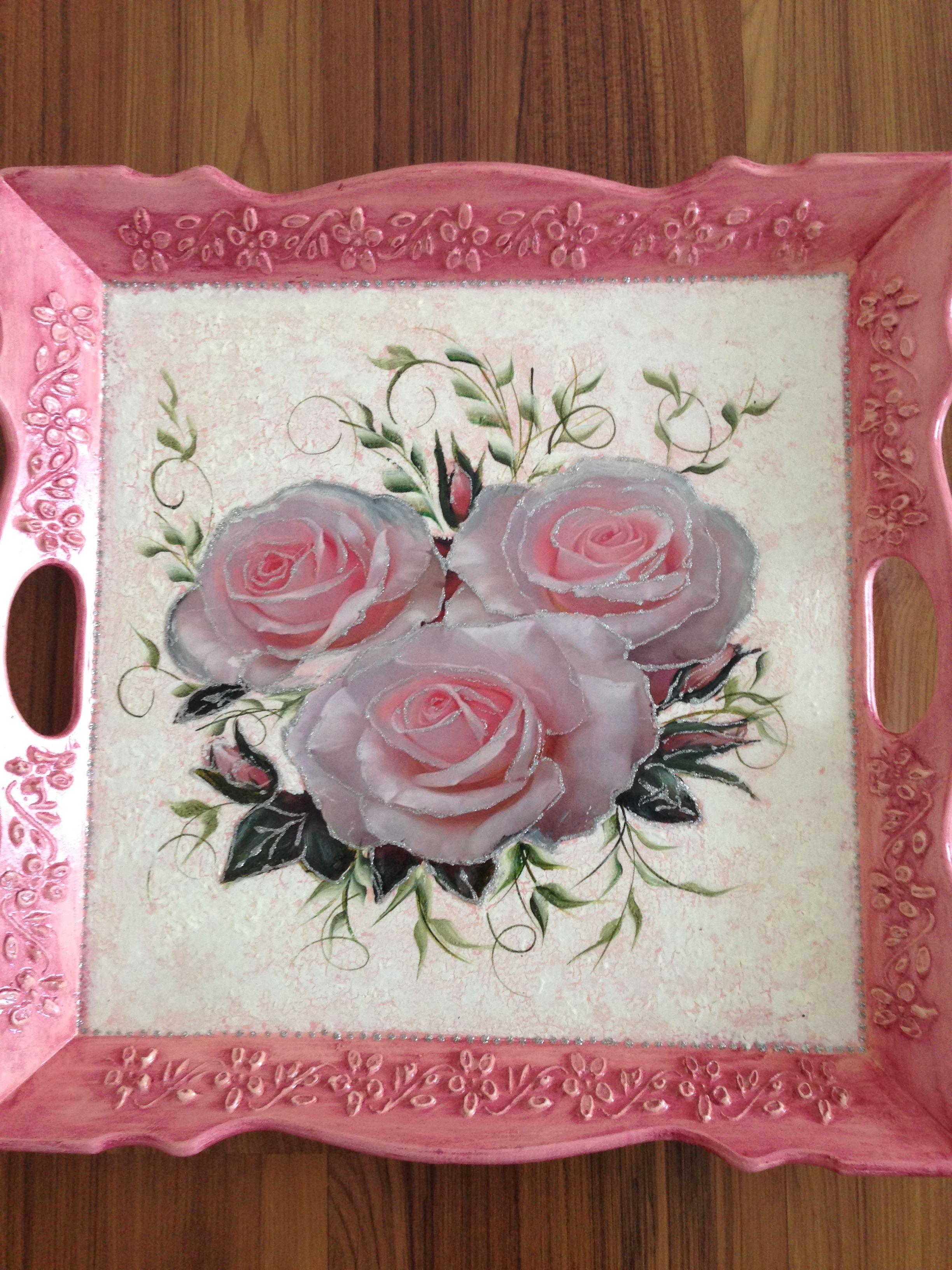 Gul Desenli Ahsap Tepsi Decupaz Pinterest Decoupage Art Paint