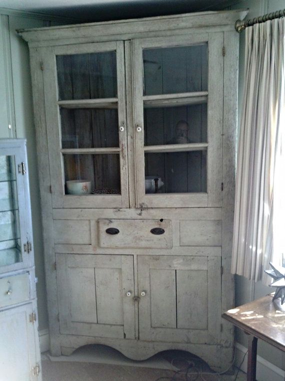 Items Similar To North Carolina Mountains Antique Primitive Corner Hutch China  Cabinet. Shabby Cottage Chic At Its Finest.