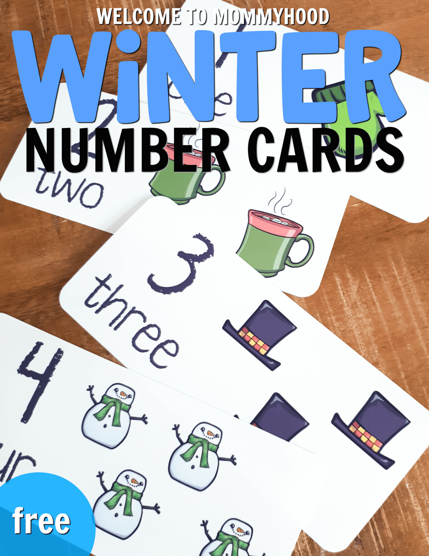 Free Winter Number Cards For Preschool Math Centers In