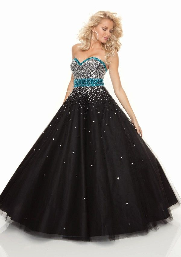 Turquoise Black Prom Dress