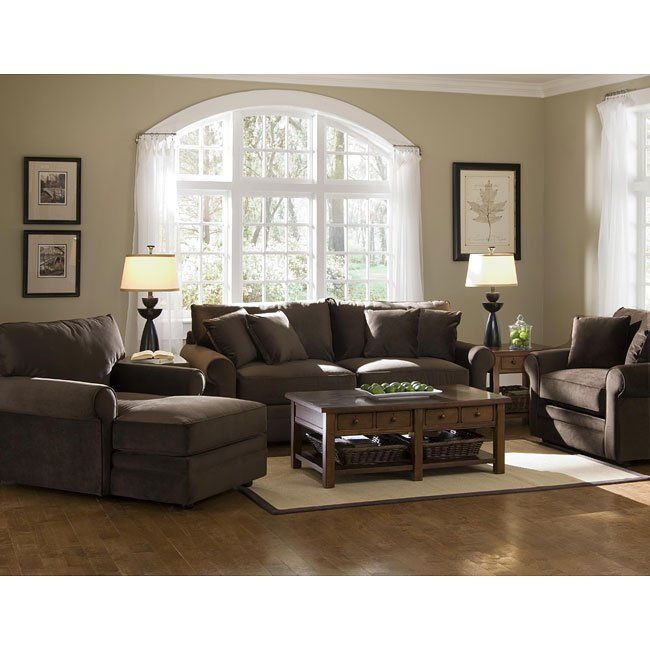 Comfy Living Room Set Belsire Chocolate In 2019