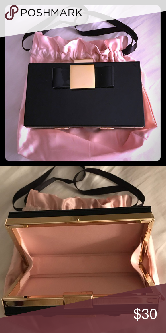 Estee Lauder Evening Black Clutch Bag New Patent Leather Brand Never Used Comes With Dust Bags
