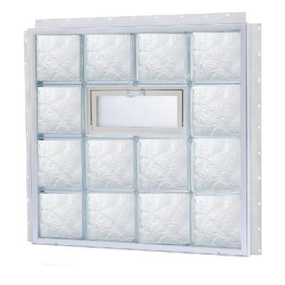 TAFCO WINDOWS 31.625 in. x 15.875 in. NailUp2 Vented Ice Pattern Glass Block Window