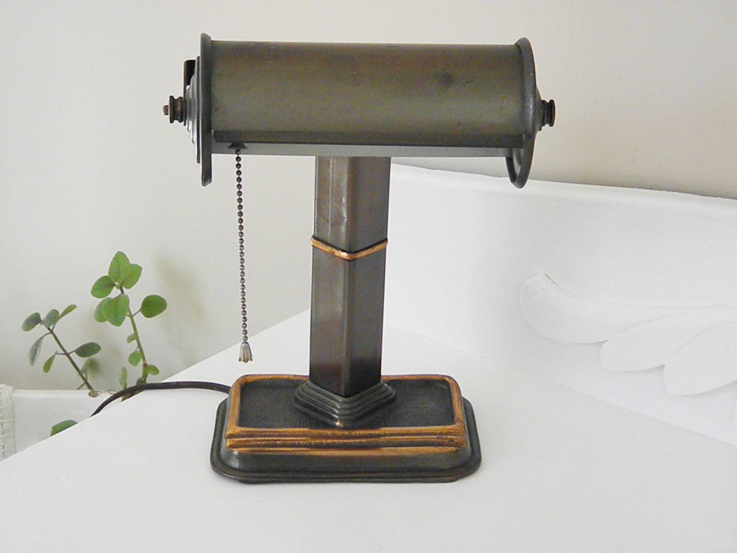 Vintage bankers desk lamp - Vintage Art Deco Brass Desk Bankers Lamp