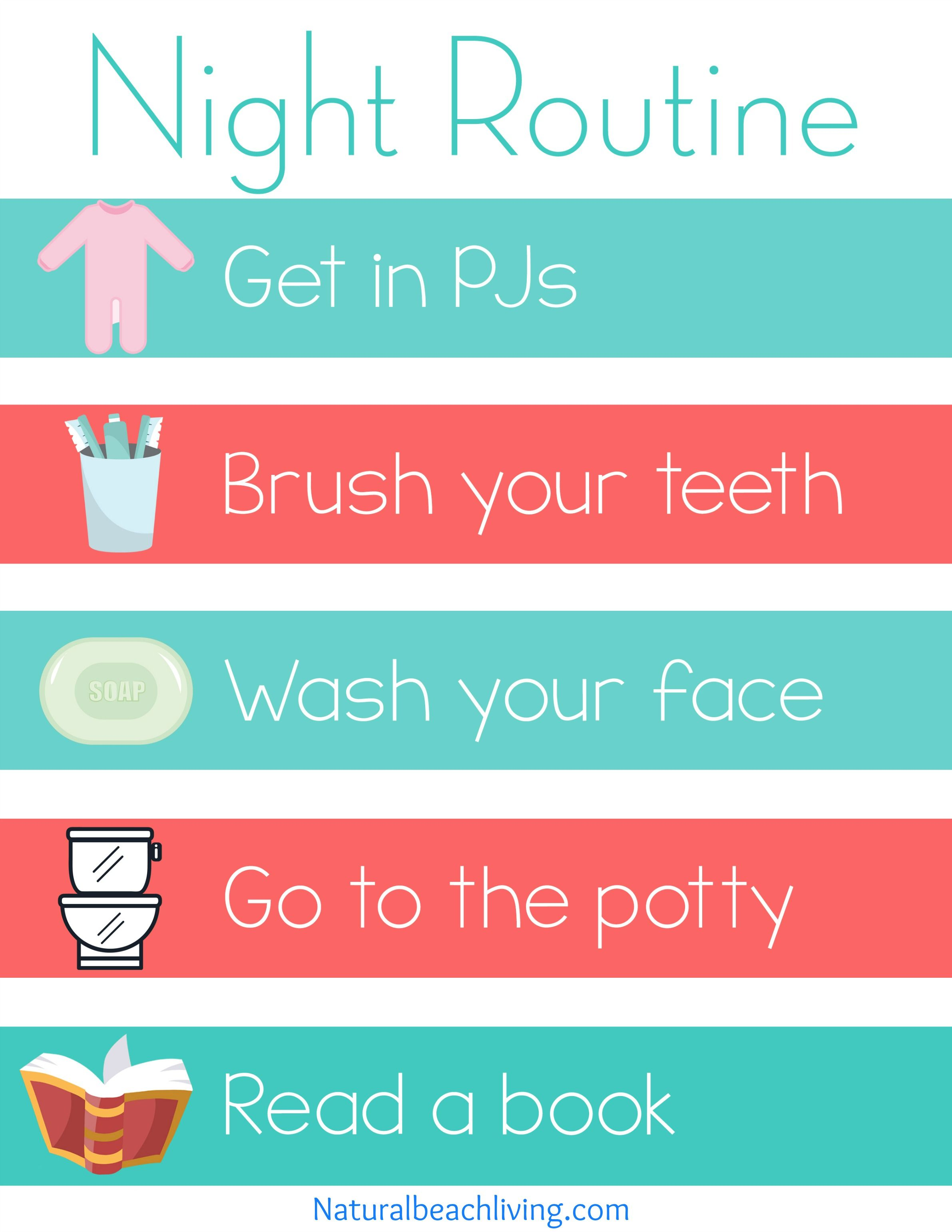 Home Visual Schedule Printables For Morning And Night