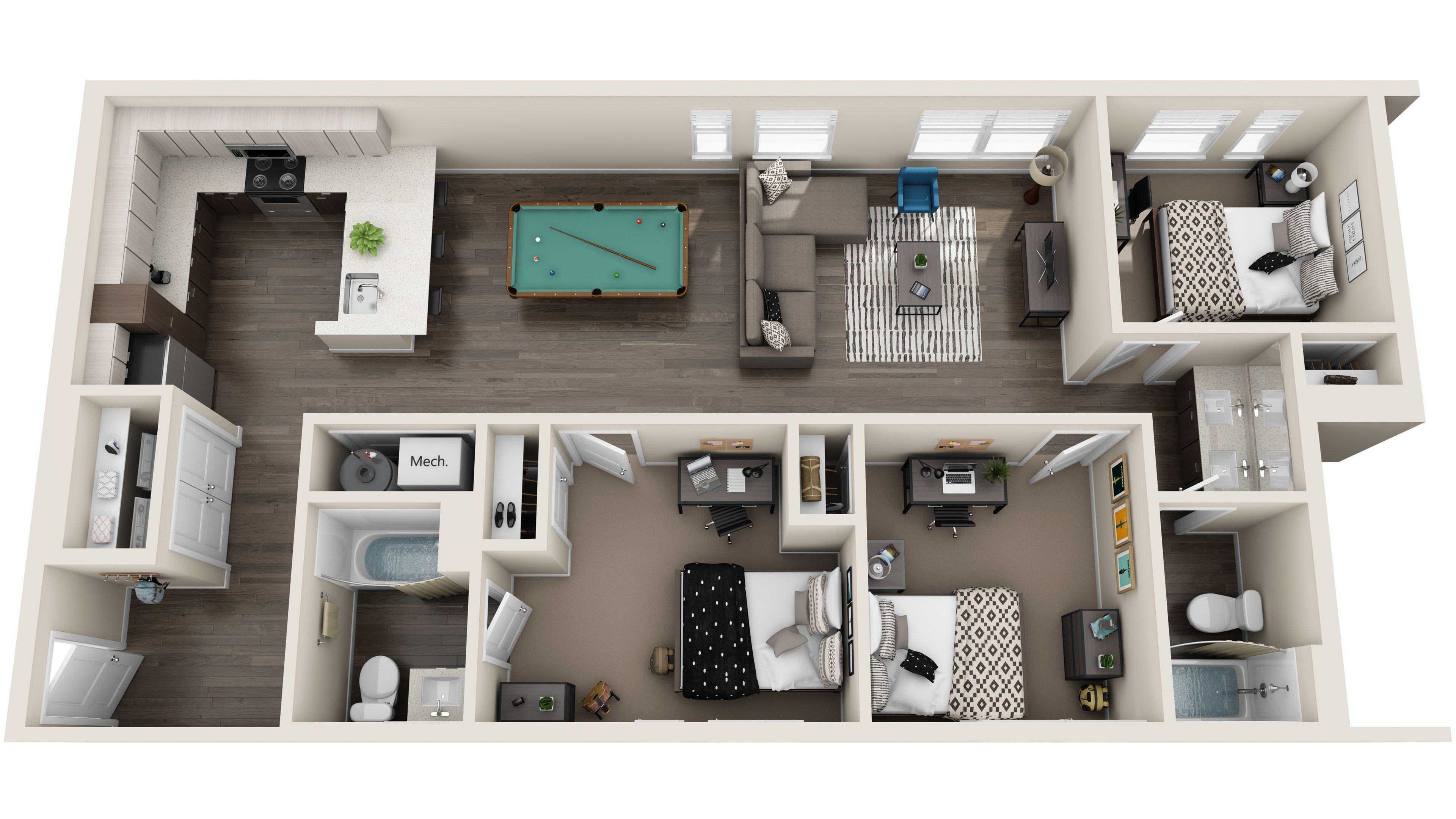 Standard 3d Floor Plans House Floor Design Apartment Layout House Plans