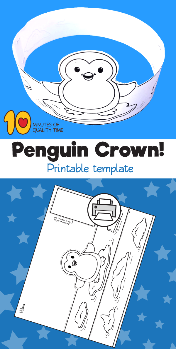 Penguin Printable Crown Crown Crafts Kindergarten