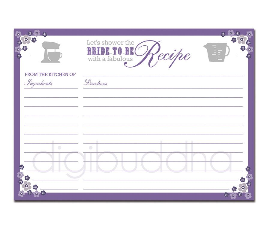 recipe card bridal shower purple floral 5x7 4x6 3x5 diy printable or printed fill in recipe card retro flowers priscilla style 800 via etsy