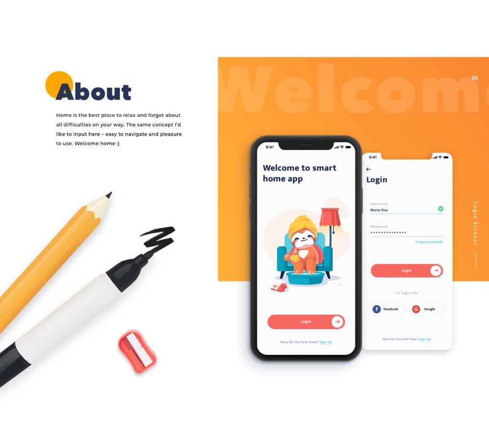 Smart Home App IOS on Behance Presentation app, Smart home