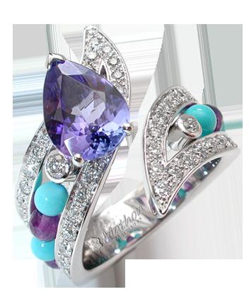 anillo de oro blanco con tanzanita, diamantes, turquesa y amatista
