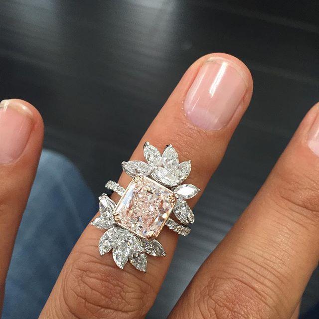 Pink Wedding Ring On Hand