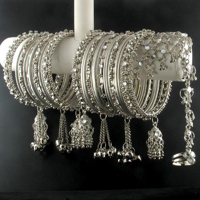 India Trend eBay | Details about SILVER KUNDAN BANGLE BRACELET+SLAVE BRACELET~34PCS ~2.6