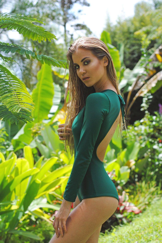 ad0e9e325cfc3 One piece dark green long sleeve swimsuit