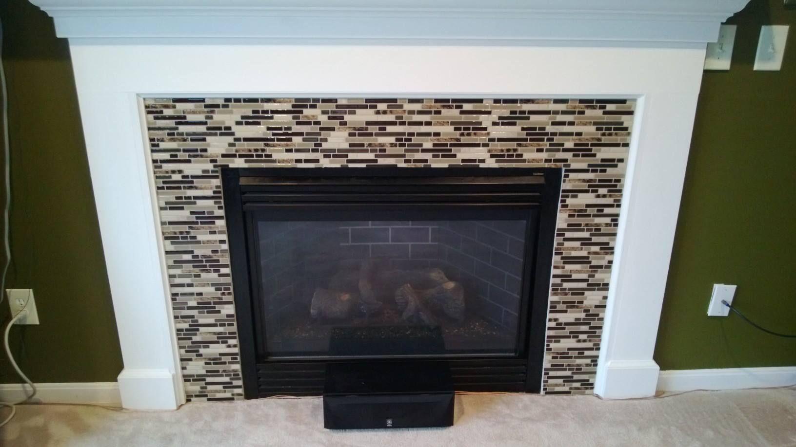 Do It Yourself Home Design: Peel And Stick Backsplash Fireplace