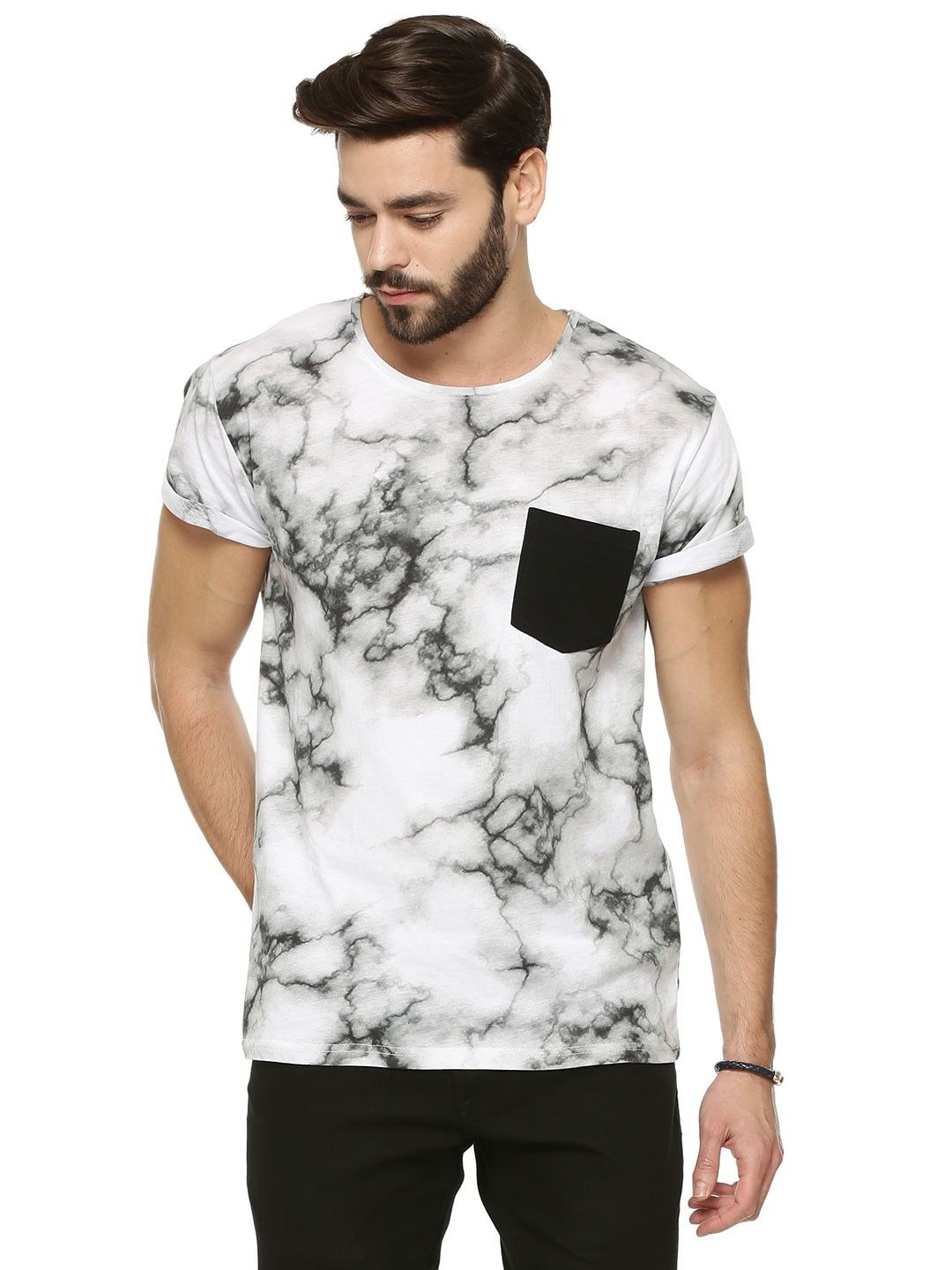 Solid Marble Print T Shirt With Pocket For Men S