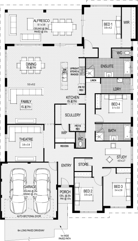 The Southport Floorplan (Left Side Would Face East, Dining