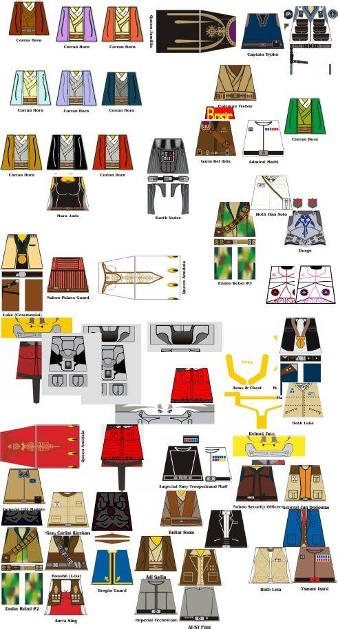 Lego Custom Star Wars Torsos | Lego | Lego decals, Lego