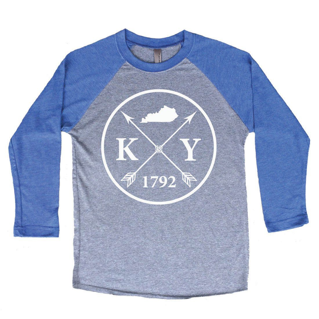 Homeland Tees Kentucky Arrow Tri Blend Raglan Baseball Shirt By
