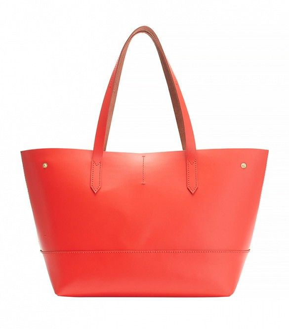 J. Crew New Uptown Tote Bag in Bright Flame // Bright red bag