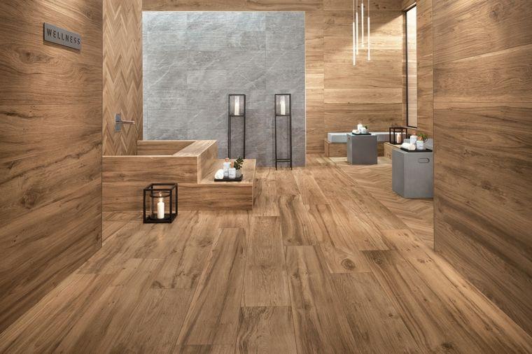 20 Amazing Bathrooms With Wood-Like Tile Grey wooden floor, Green