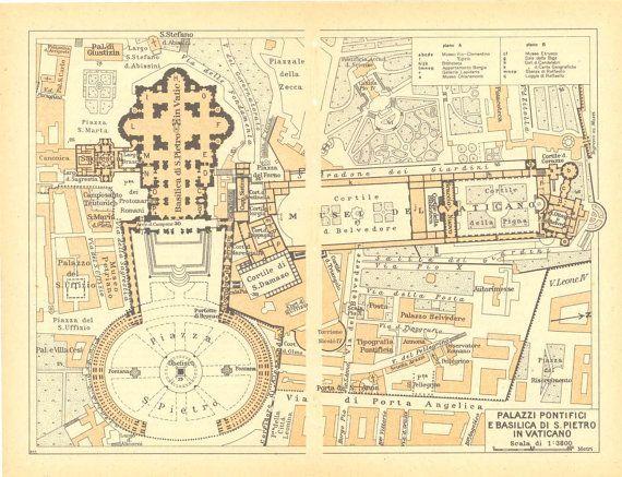 1949 Vatican City Plan St. Peter Basilica por CarambasVintage