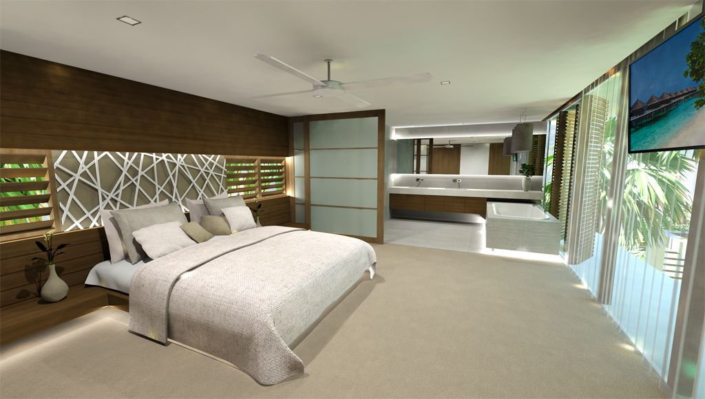 Chris Clout Design master bed and bathroom in Noosa with lighting