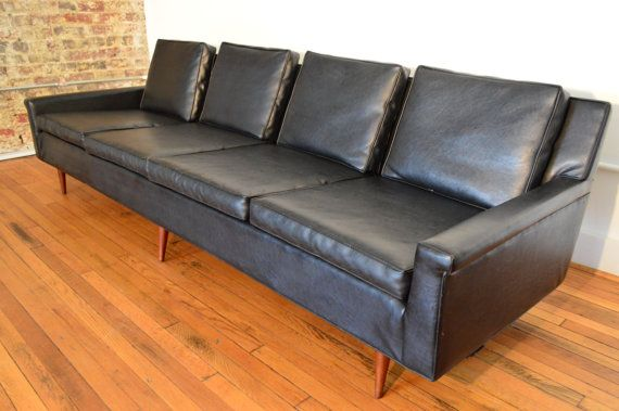 Milo Baughman for Thayer Coggin Black Leather Danish Modern Sofa