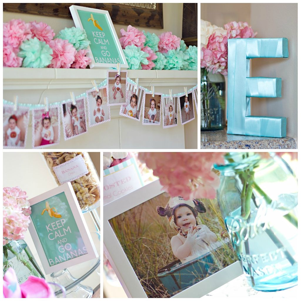1000 Ideas About 1st Birthday Banners On Pinterest: First Birthday Party Pink And Aqua. Monthly Banner. Monkey