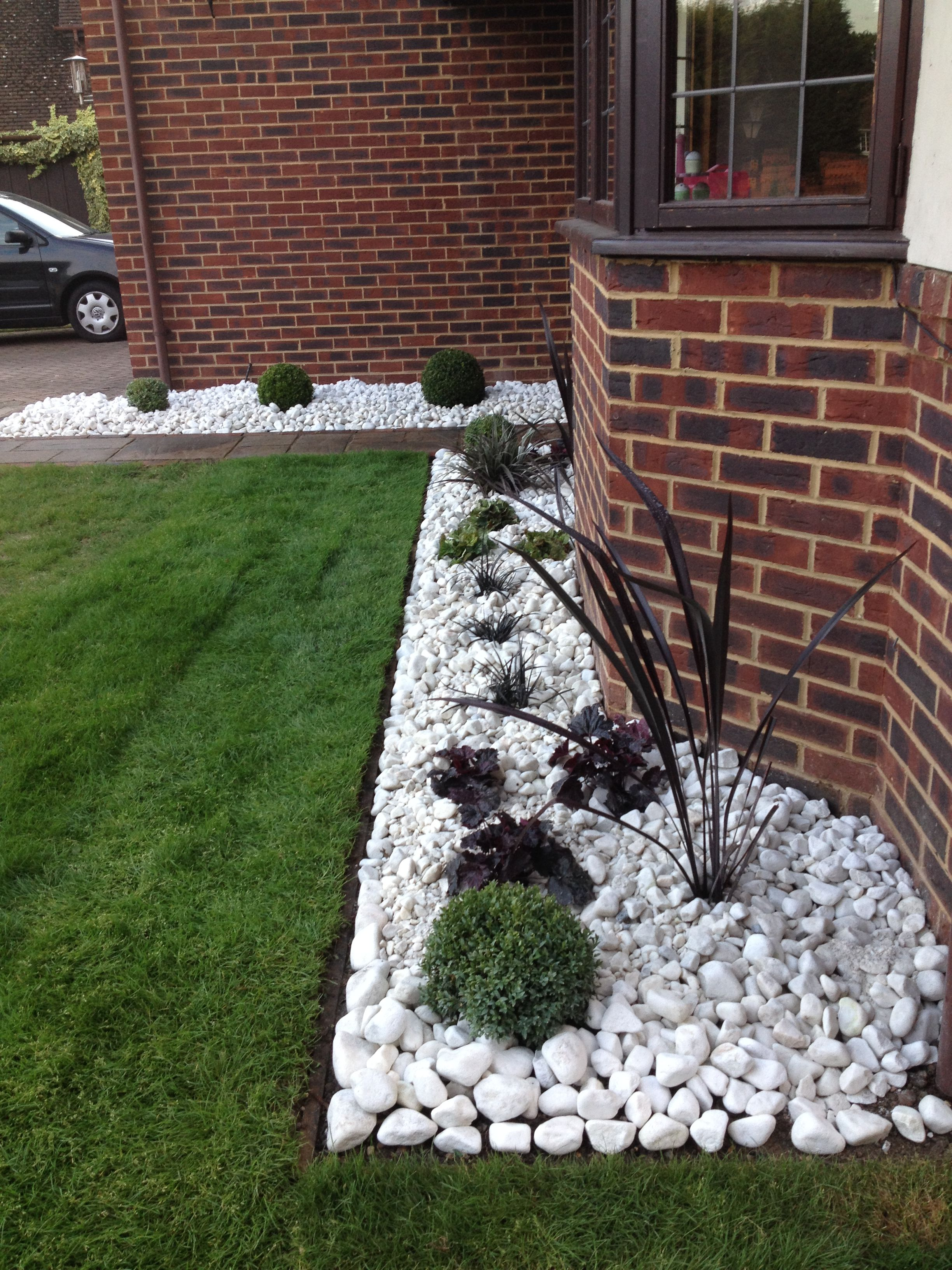 Small Front Garden Border Re Design Modern, Low Maintenance With Spanish
