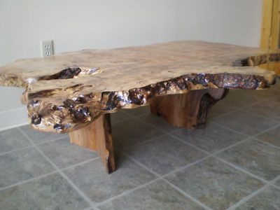 Maple Wood Burl Coffee Table Features Live Edge And Freeform Root As The Base